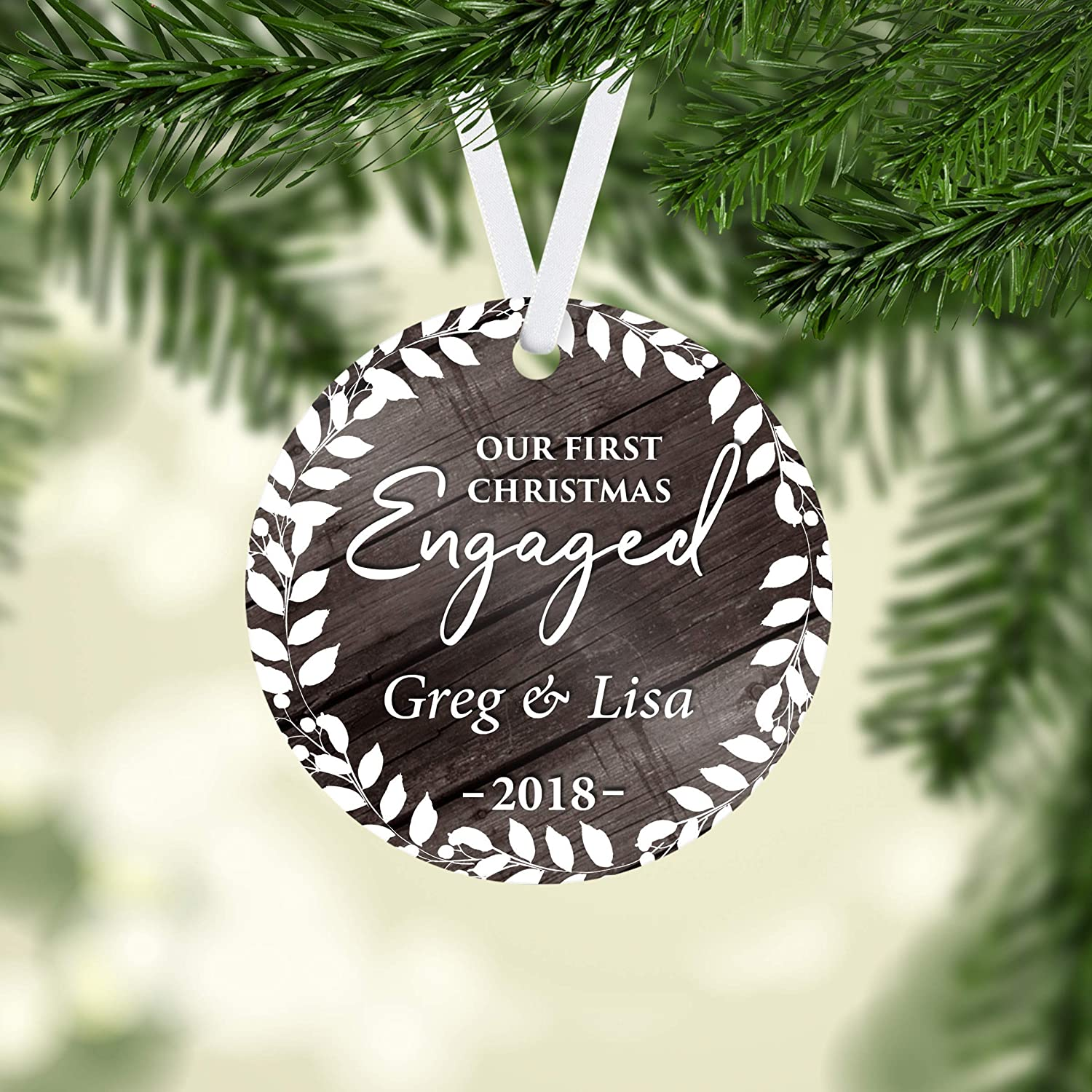 ENGAGEMENT Engaged Christmas Ornament Personalized Under 25 Christmas Ornament for Engagement Vintage Silver Plated Engaged Couple