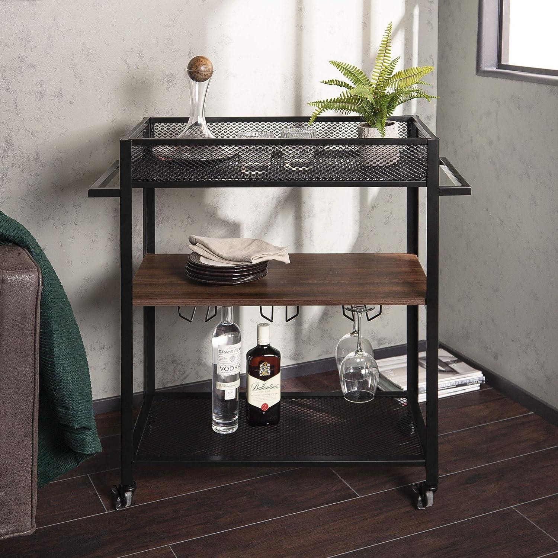 Dark Walnut WE Furniture AZF36LEODW Portable Bar Cart, Dark Walnut
