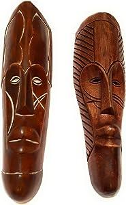 NOVARENA African Art Cameroon Gabon Fang Wall Masks and Sculptures - Africa Home Mask Decor (2 Pc Set of Brown Masks)