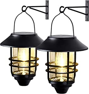2 Pack Solar Lantern Wall Lights Fixtures, Solar Powered Porch Light, 15 Lumen Heavy Glass & Stainless Hanging Solar Wall Sconce Outdoor,for Porch, Yard