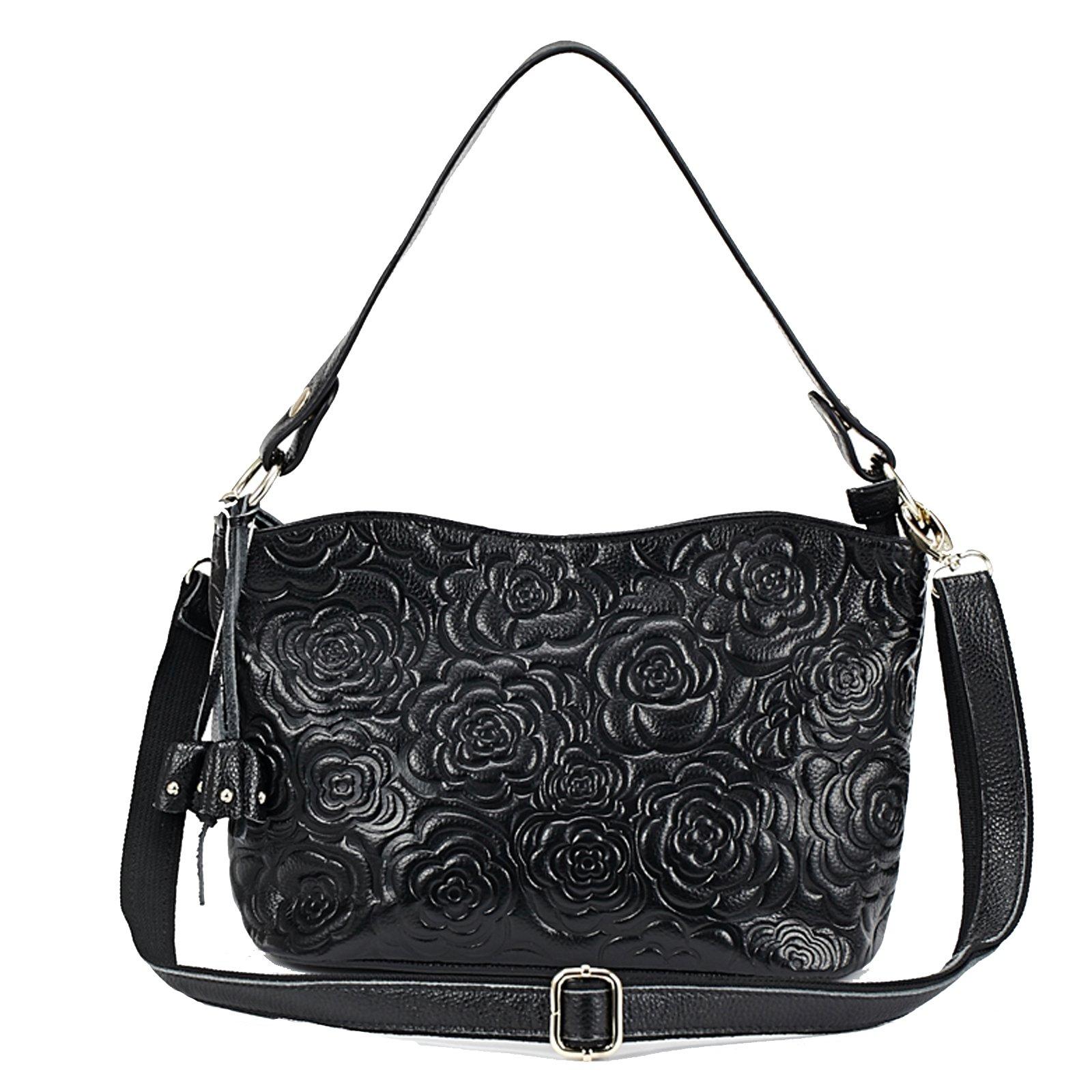Womens Rose Embossed Leather Shoulder Bags Ladies Cross Purses Zipper Handbags Satchel (black)