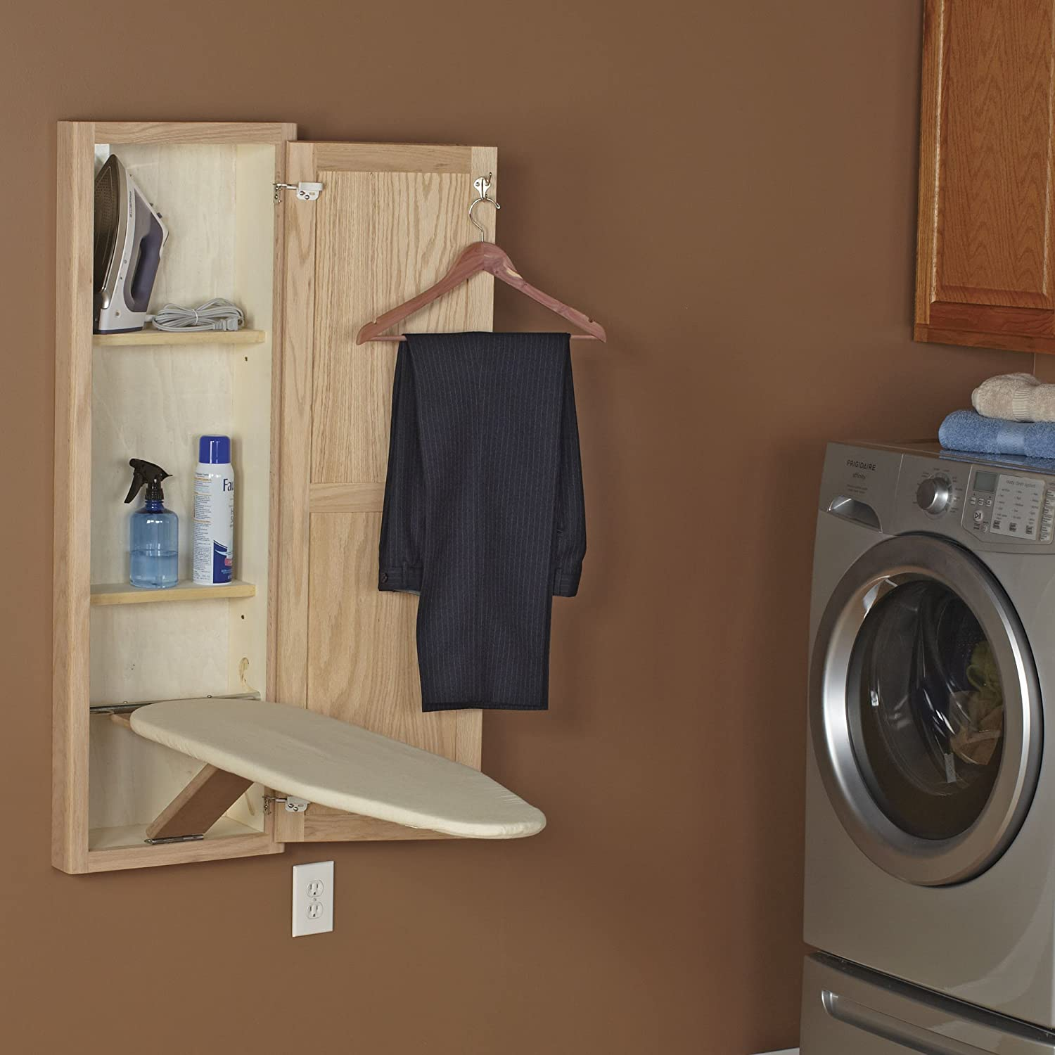 Unfinished Oak Household Essentials 18200-1 STOW AWAY In-Wall Ironing Board Cabinet with Built In Ironing Board