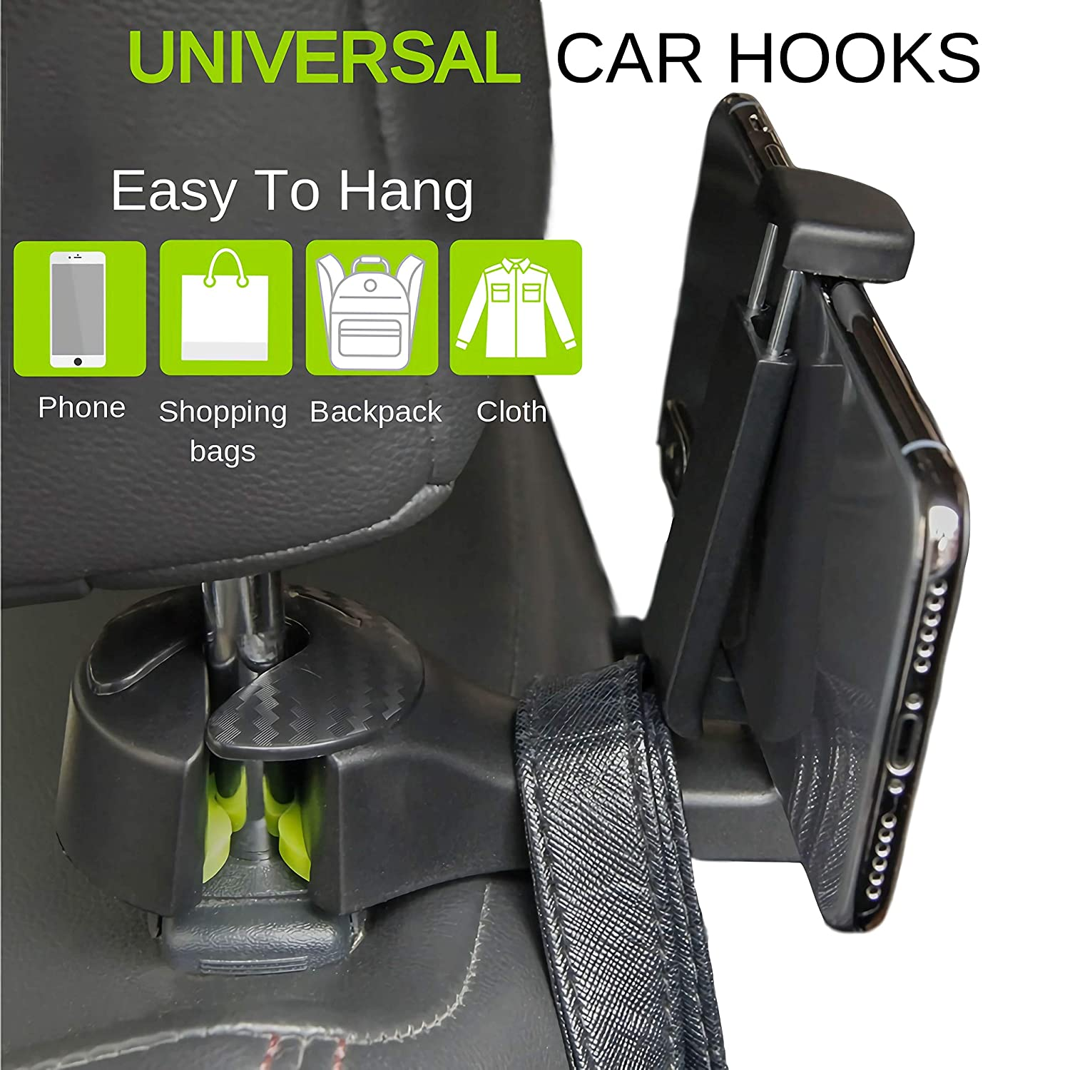Grocery Shopping Bags Universal Vehicle Car Seat Hooks Cloth YIQI Car Hooks Car Seat Headrest Hook with Phone Holder 2 Pack Updated Car Lock Hooks Hanger for Handbags Purse