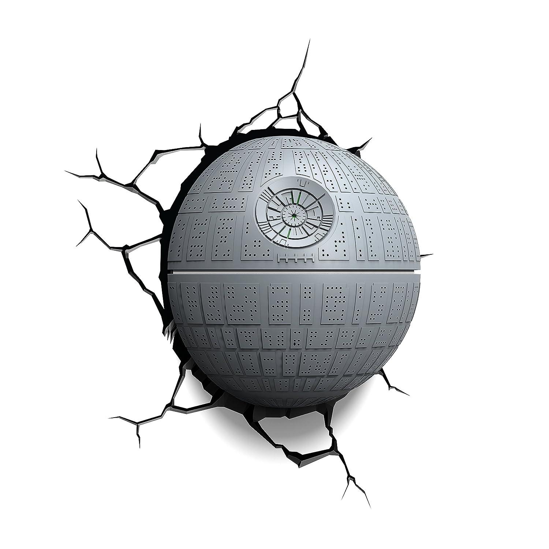 Luz de noche niños LED – Lámapara Star Wars Death Star – Estrella de la Muerte – 3D Light FX - Luz de pared con minutero y pegatina de pared – Funciona con Pilas 3DLIGHTFX GG0178