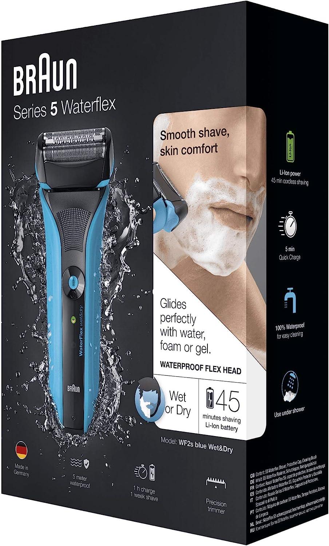 Braun Series 5 WaterFlex WF2s - Afeitadora eléctrica para hombre de lamina, en seco y mojado, máquina de afeitar barba inalámbrica
