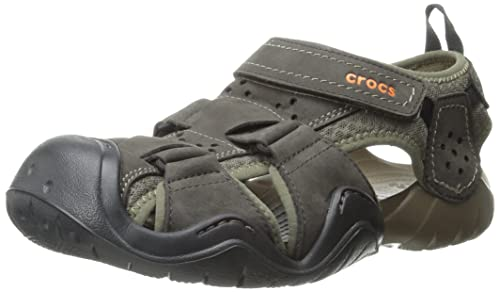 58a4bccd6 crocs Swiftwater Leather Fisherman Men Sandals  Shoes  202111-23B-M9  Buy  Online at Low Prices in India - Amazon.in