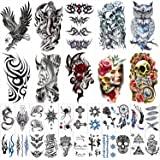 42 Sheets Temporary Tattoos Stickers (Include 10 Sheets Large Stickers), Fake Body Arm Chest Shoulder Tattoos for Men and Wom