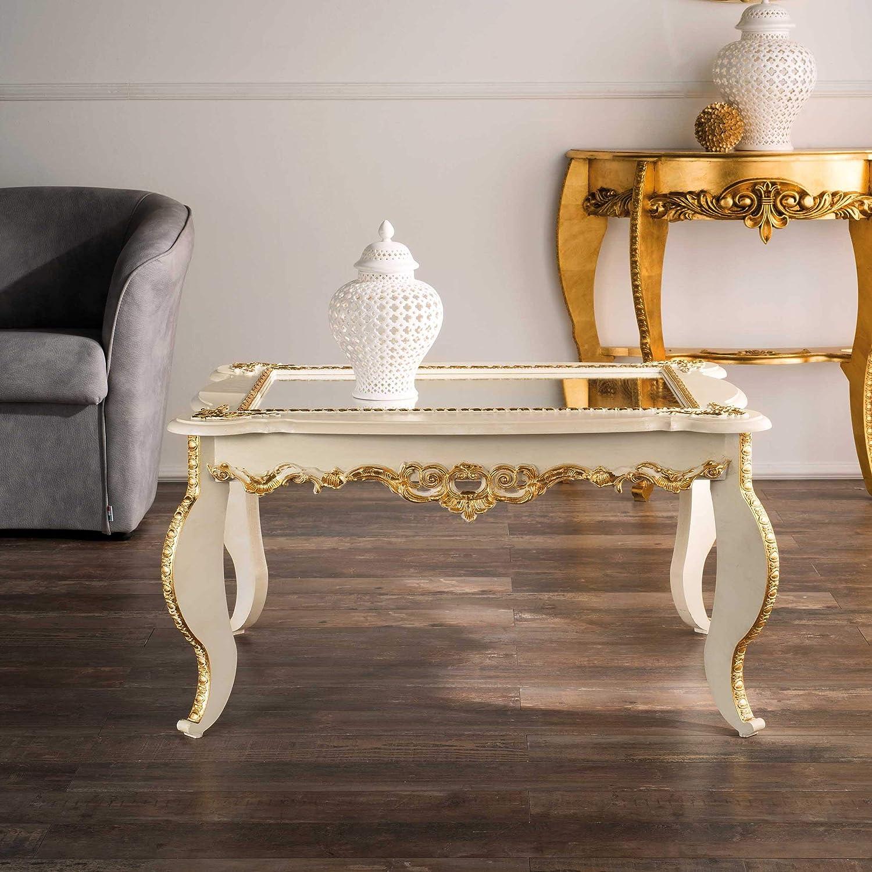Mocada Tavolino Classico da Salotto Intagliato a Foglia Avorio//Oro Soggiorno