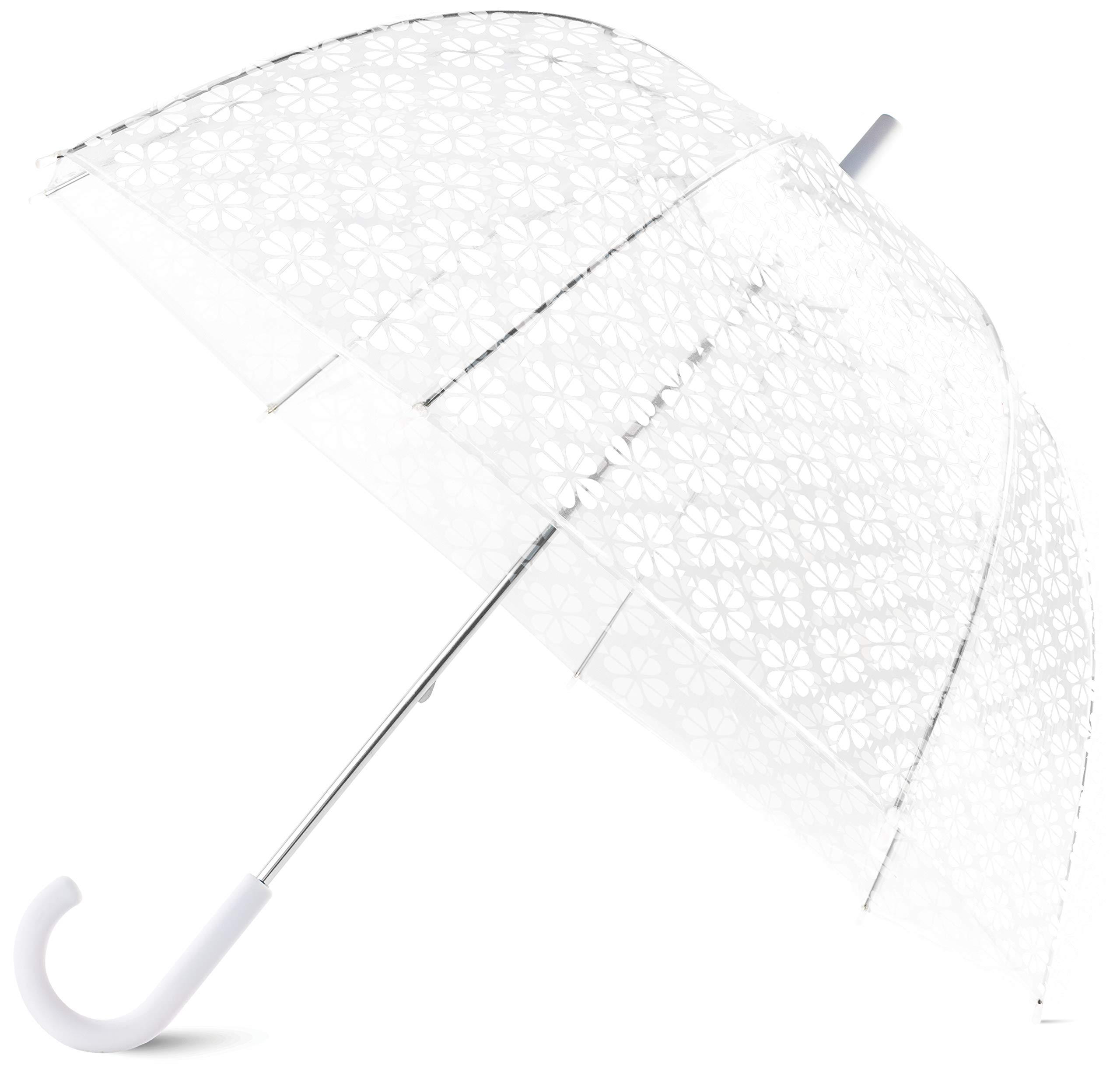 Kate Spade New York Large Dome Umbrella, White Spade Flower by Kate Spade New York