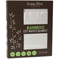 Bubba Blue Soft Bamboo Viscose Baby Toddler Cot Waffle Bamboo Blanket Thermoregulating White Unisex