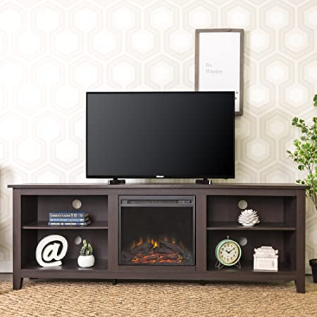 WE Furniture 70 Espresso Wood Fireplace Modern TV Stand Console for Flat Screen TV s Up to 75 Entertainment Center