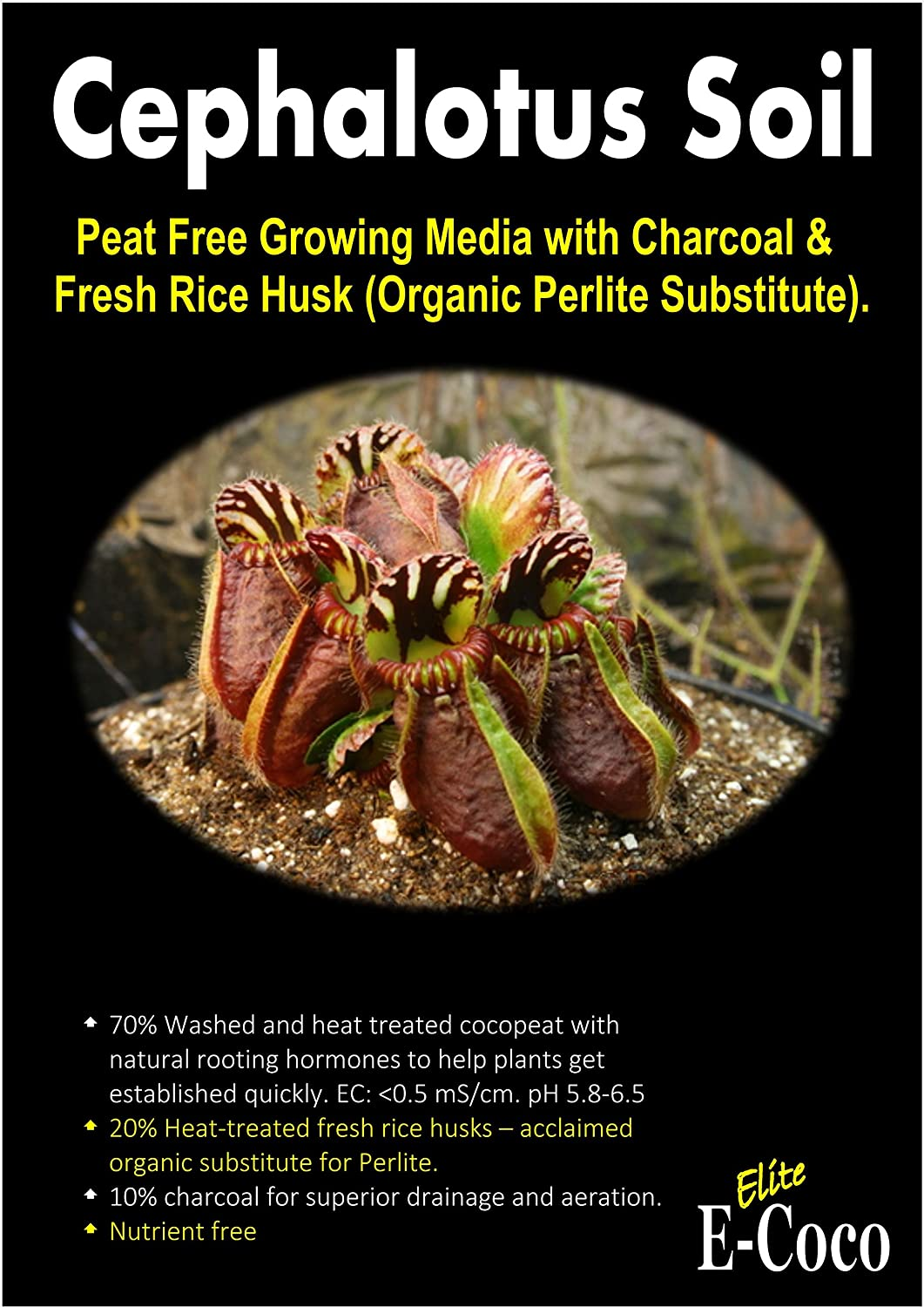 CEPHALOTUS FOLLICULARIS CARNIVOROUS PLANT COMPOST, SOIL with CHARCOAL FOR PITCHER TYPE - READY TO USE (1 LITRE) E-COCO PRODUCTS UK