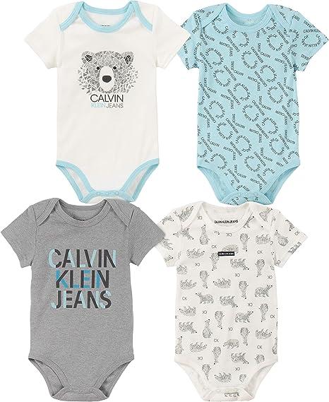 Calvin Klein Baby Boys 4 Pieces Pack Bodysuits, Blue/Gray/Vanilla, 12M