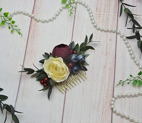 78a7962c06d34 Amazon.com: Burgundy wedding comb for bride Flower girl headpiece ...