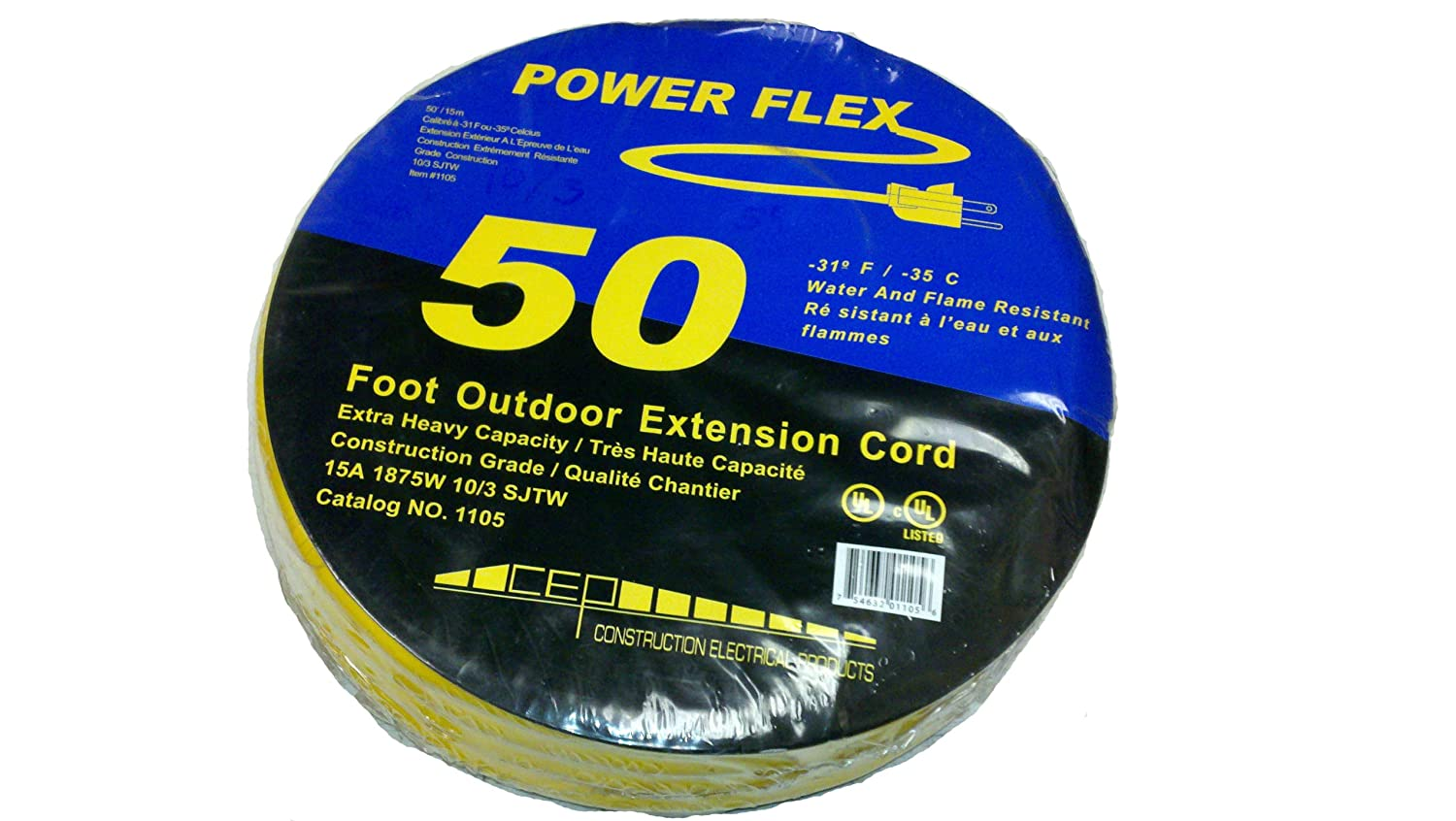 CEP Construction Electrical Products 1105 10-Gauge 3 Wire 50-Feet Yellow  Extension Cord - - Amazon.com
