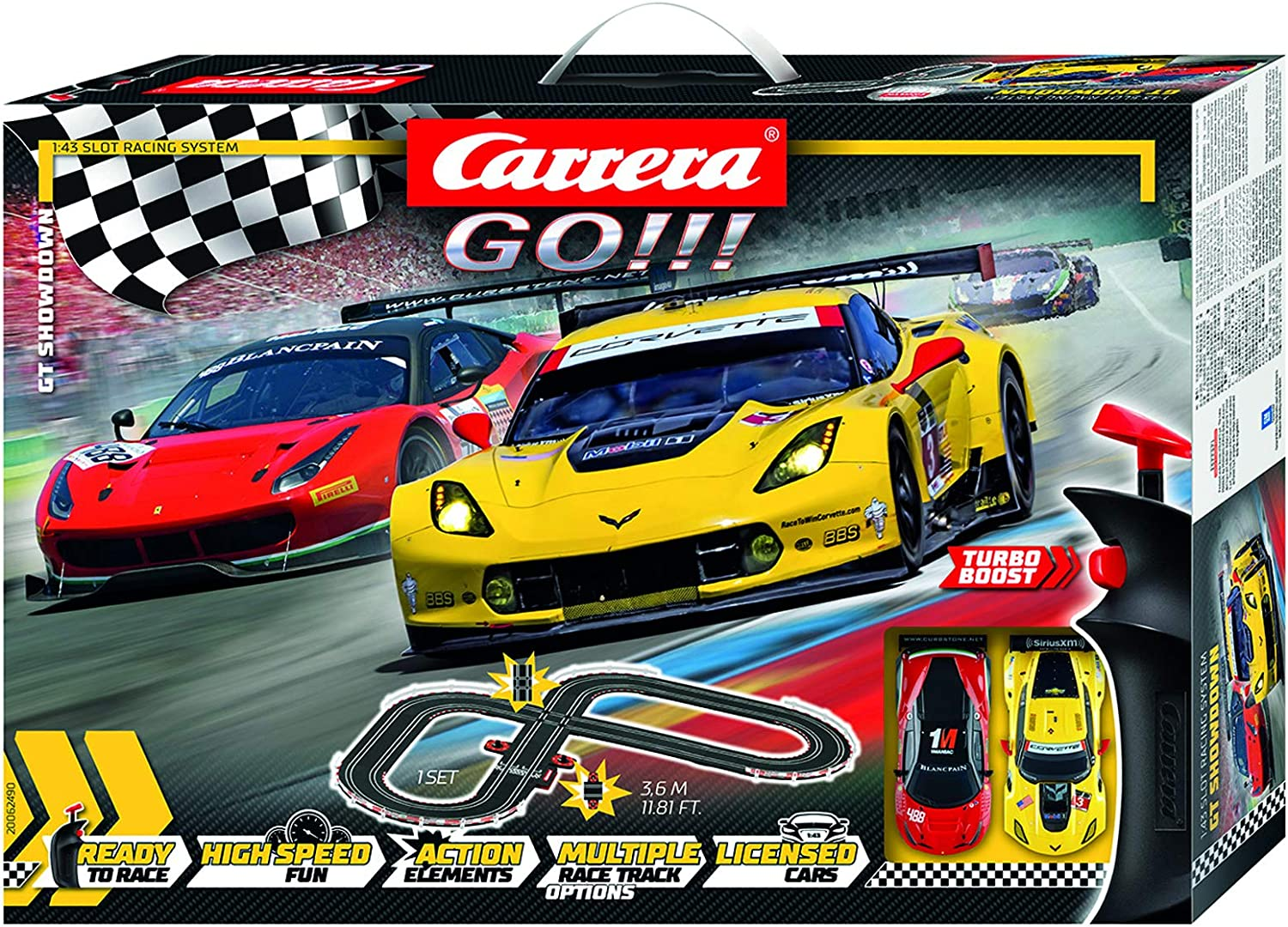 Carrera Go 62490 Gt Showdown Electric Slot Car Racing Track Set 1 43 Scale Slot Cars Amazon Canada