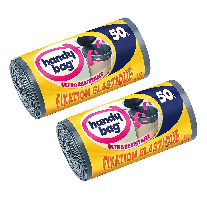 Poign/ées Coulissantes Handy Bag Opaque 10 Sacs Poubelle 50 L Gris Fonc/é Ultra R/ésistant LOT de 2 Fixation /Élastique 68 X 73 cm Anti-Fuites