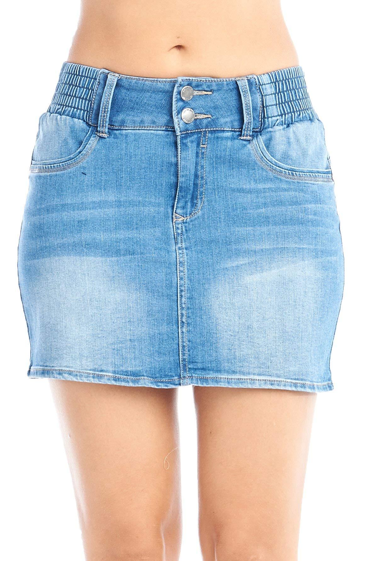 Khanomak Women's High-Rise Casual Basic 2 Button Front Elastic Waist Denim Jean Body Con Mini Skirt (Medium, Light Blue)