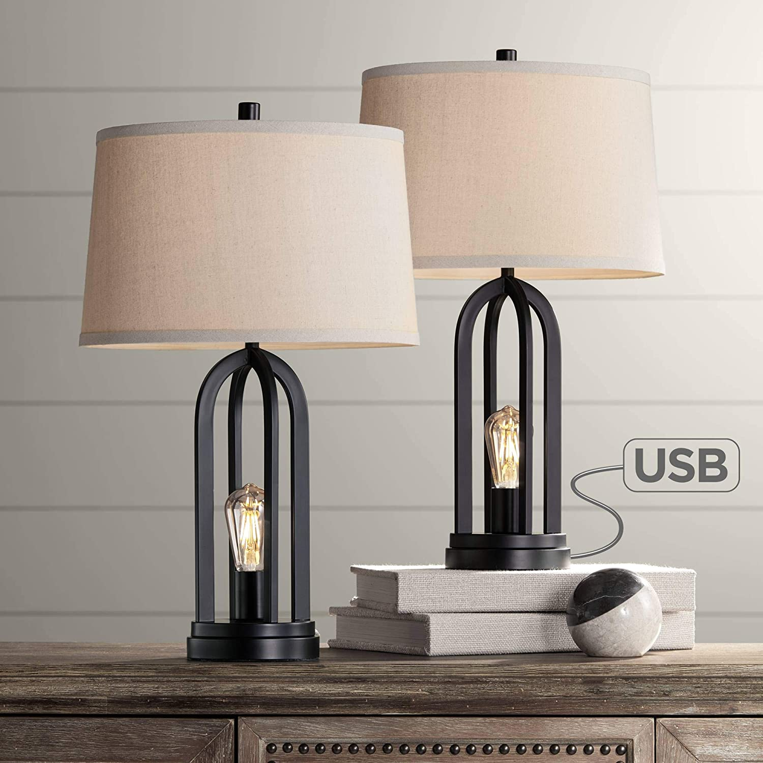 Marcel Modern Industrial Table Lamps Set of 2 with Nightlight LED USB Port Black Linen Shade for Living Room Bedroom