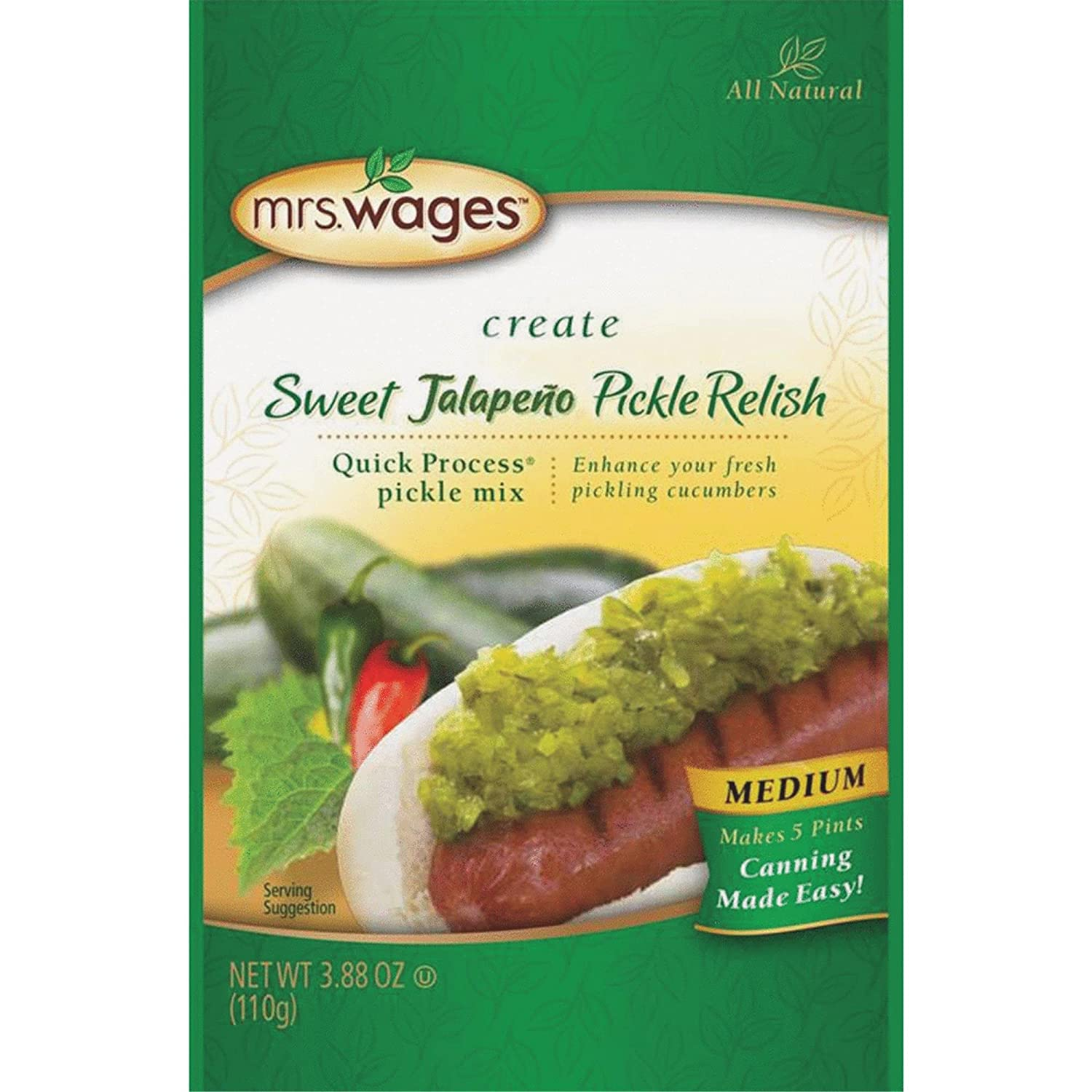 PRECISION FOODS Mrs. Wages Quick Process Jalapeno Pickle Relish, 4 Ounce