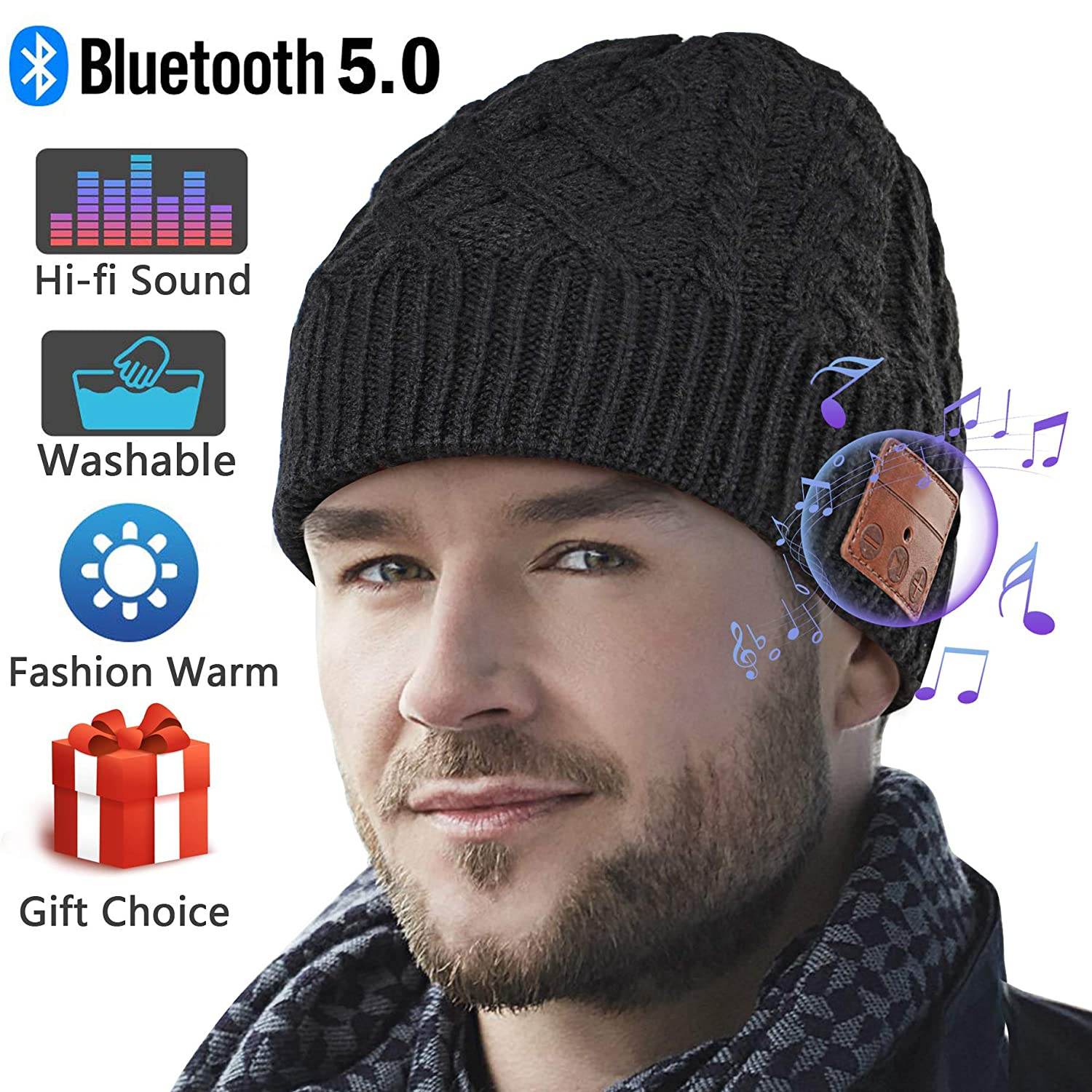 Deegotech Bluetooth Beanie,Upgraded V5.0 Bluetooth Hat for Men, Wireless Earphone Beanie Headphones,Unisex Winter Music Hats with HD Stereo Speakers Built-in Microphone,Mens Gifts for Christmas