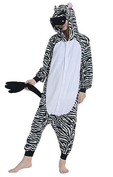 Unisex Animal Pijama Ropa de Dormir Cosplay Kigurumi Onesie Cebra Disfraz para Adulto Entre 1,