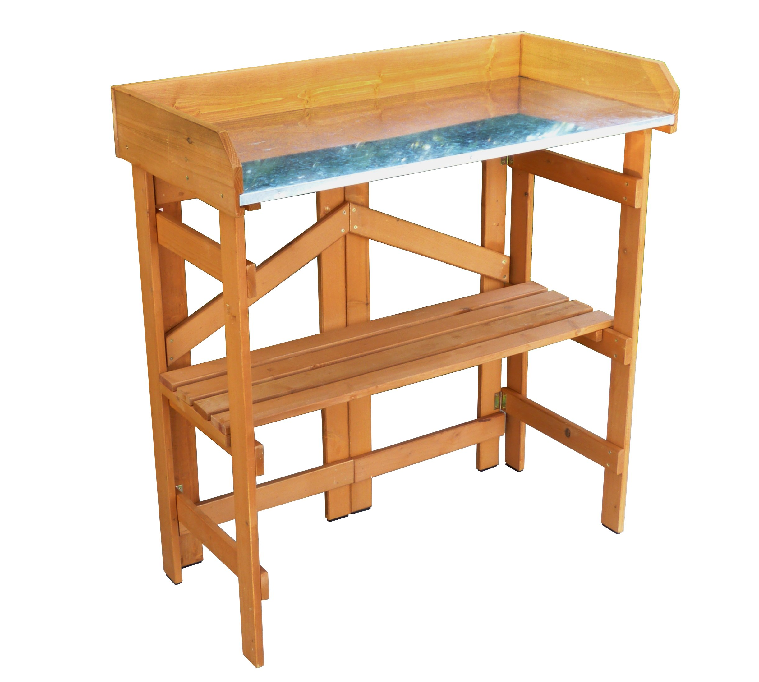 Merry Garden Folding Utility Table & Potting Bench, Natural Stained