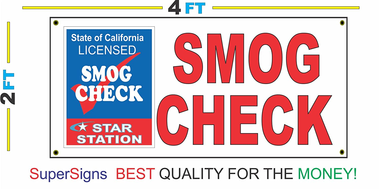 Amazon Smog Check 2x4 Banner Sign With California Star Station