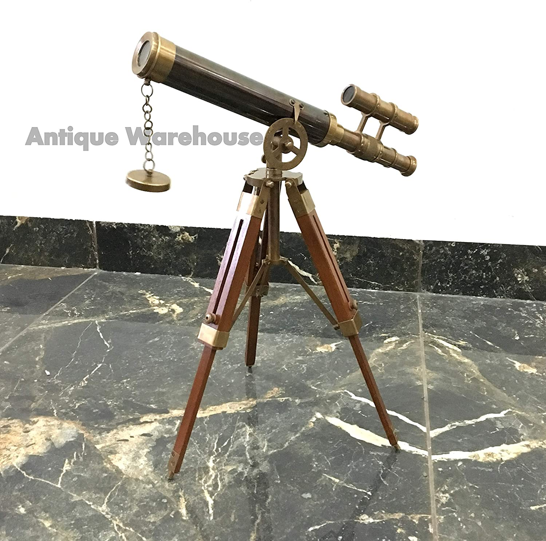 Handmade Two Ton Antique Brass Telescope With Tripod Marine Spyglass Scope Gift