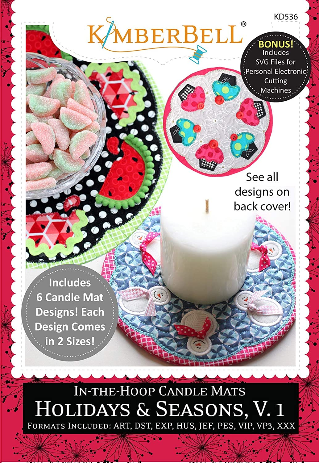 KimberBell - in-The-Hoop Candle Mats: Holidays & Seasons, Volume 1 Machine Embroidery CD