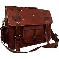 Bolsa bandolera de cuero de 45.72 cm, estilo clásico, hecho a mano, para laptop, portafolios de computadora, escolar