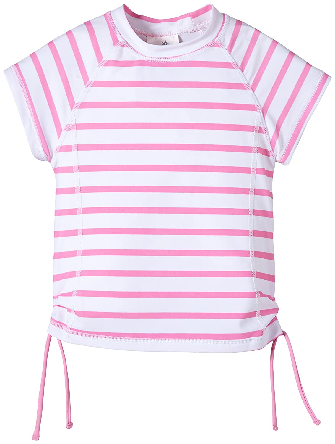 Snapper Rock Pink/ White Stripe SS Girls Rash Top