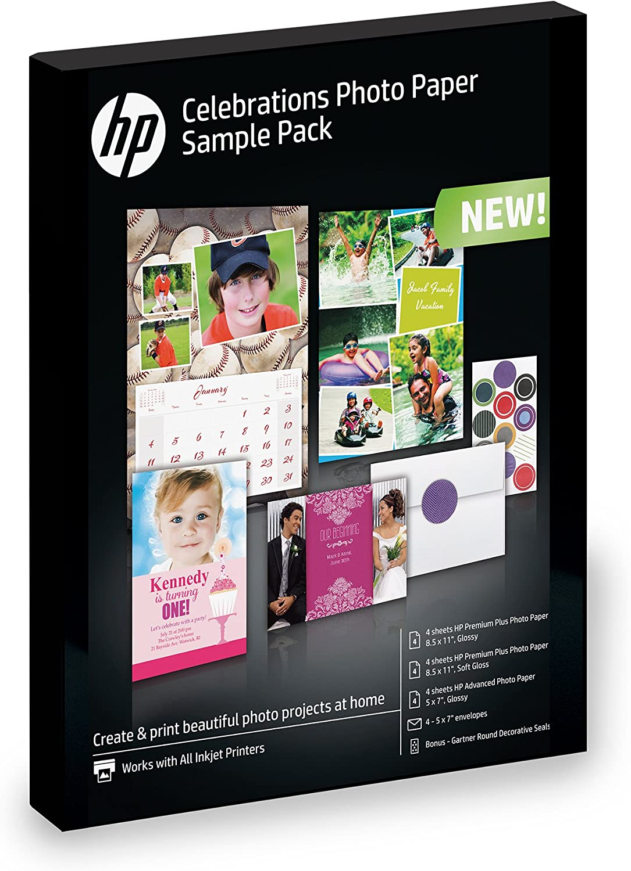 HP Photo Paper, Assortment (5x7, 8.5x11, envelopes) 12 sheets
