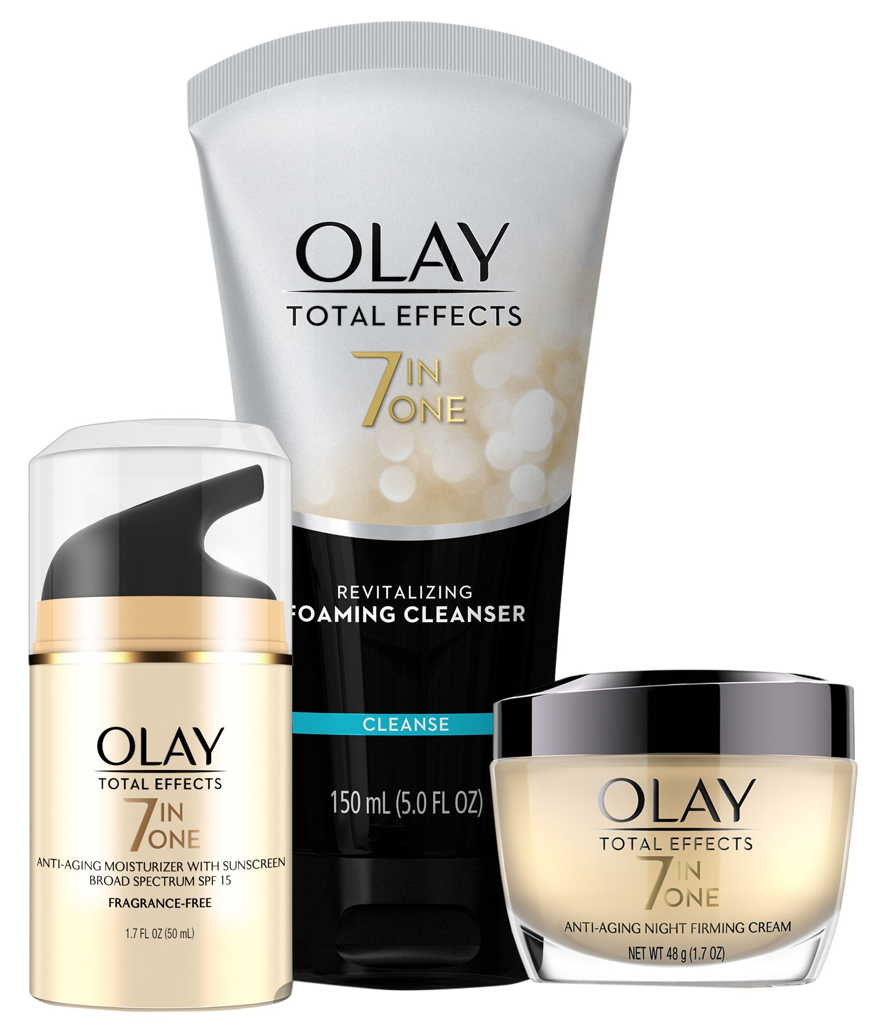 Face Wash by Olay Total Effects Day to Night Anti-Aging Skincare Kit with Cleanser, SPF & Night Cream by Olay