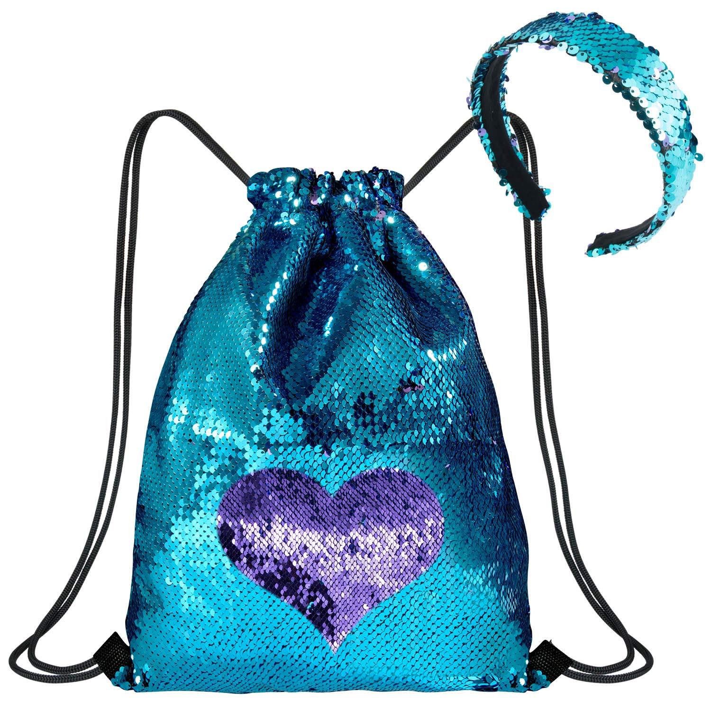 Bleu//Violet WolinTek Mermaid Drawstring Bag Sac Sir/ène Sequins Sac /à Dos /à Cordon avec Sequins r/éversible sir/ène avec Bandeau Sac de Danse Scintillant Magique pour Femmes Filles ado