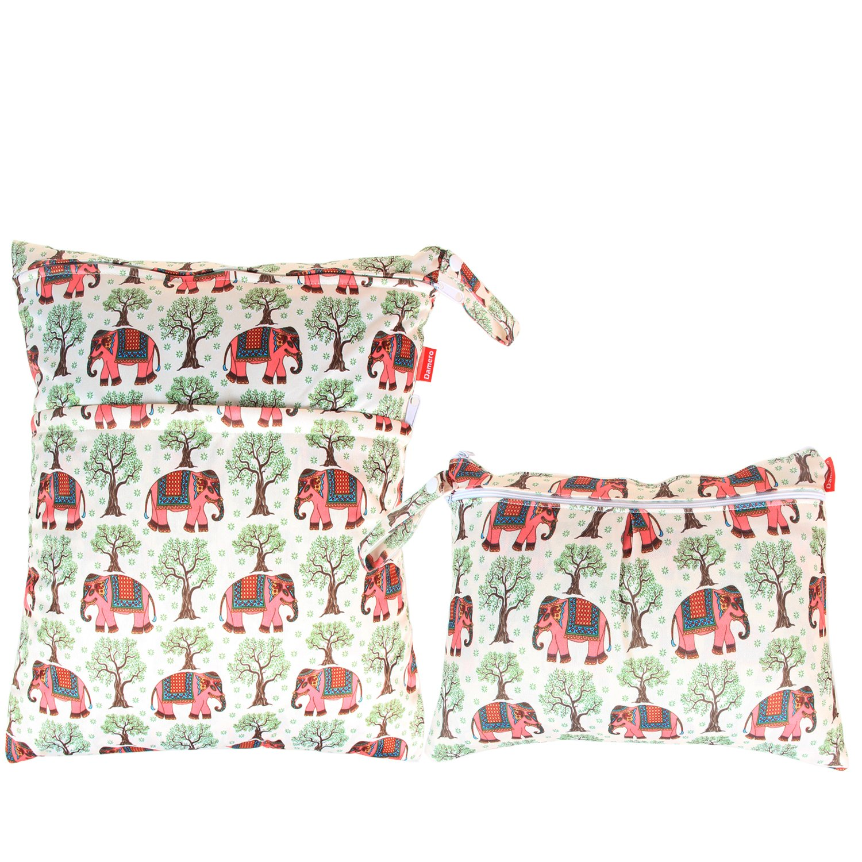 Damero 2pcs Pack Travel Baby Wet and Dry Cloth Diaper Organiser Bag Cartoon Animals