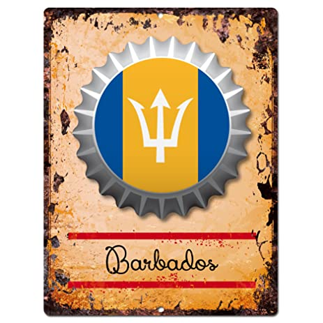 Amazon.com: COUNTRY BARBADOS Flag Bottle Cap Chic Sign Rustic ...