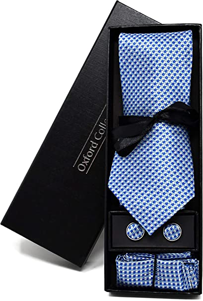 Corbata de hombre, Pañuelo de Bolsillo y Gemelos Azul Claro a ...
