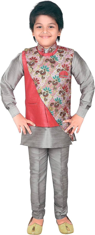 AHHAAAA Ethnic Wear Handwork Embroidery Waistcoat Kurta and Pyjama for Kids and Boys