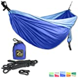 Double Eagle Camping Hammock Set - Incl. 2 carabiners and 2 ropes - 118 x 78 in - 600 lbs load - Top Rated Best Quality Lightweight Parachute Nylon 210T. X-MAS GIFT. 2 YEARS-WARRANTY.