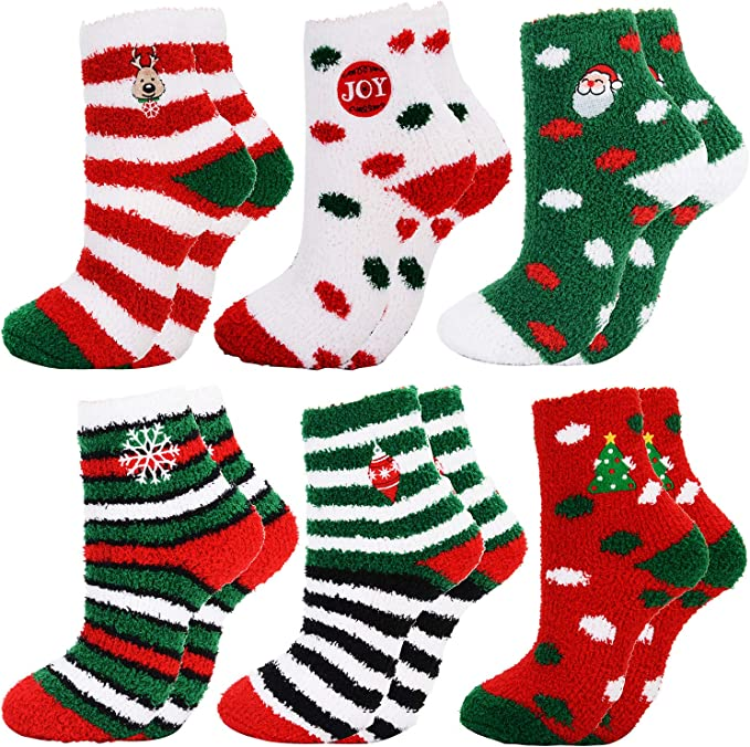 Christmas Soft Fluffy Bed Socks 3D Winter Warm Lounge Coral Velvet Xmas Gifts