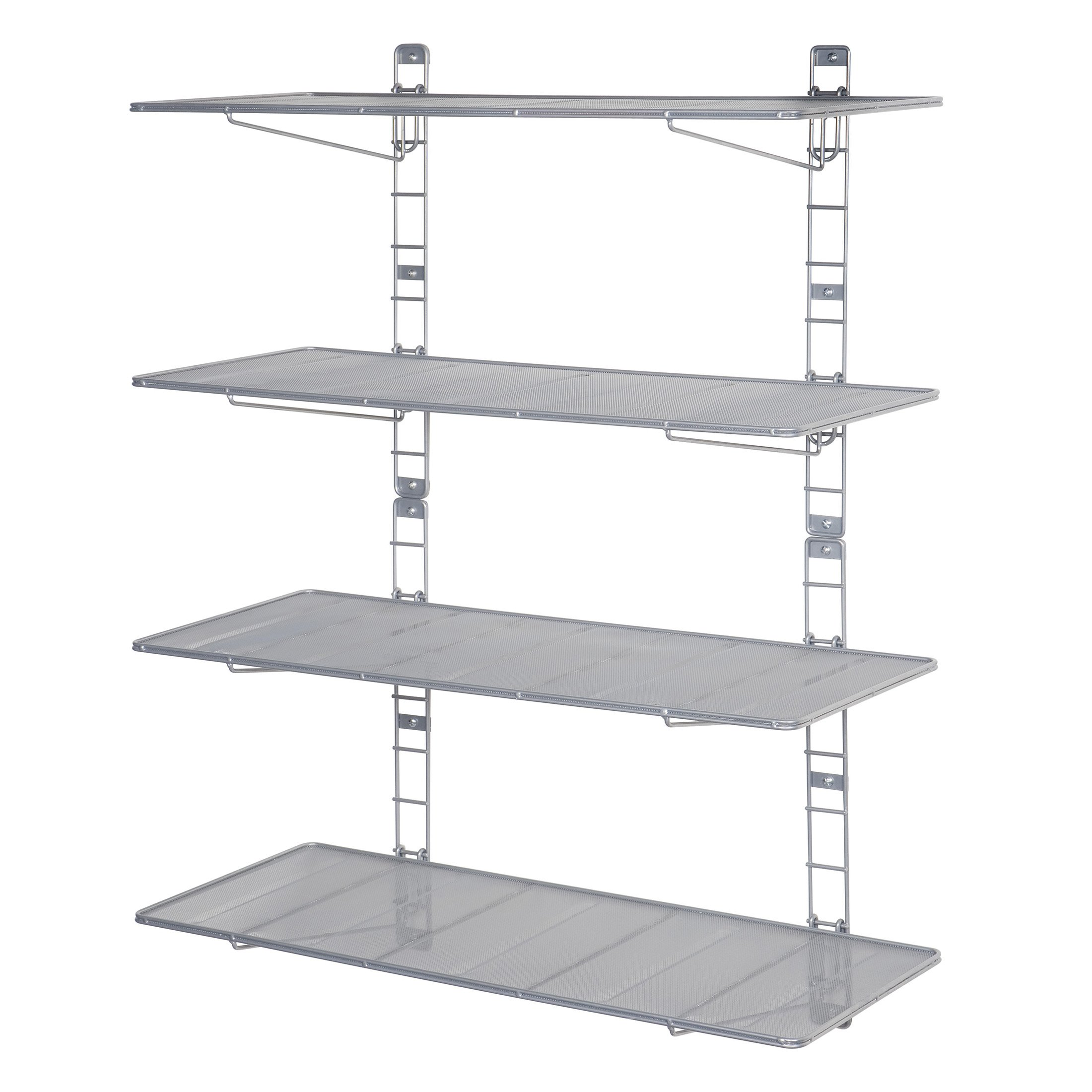 Seville Classics 2-Tier Iron Mesh Adjustable Floating Wall Shelves, 36'' x 14'', Satin Pewter by Seville Classics (Image #6)