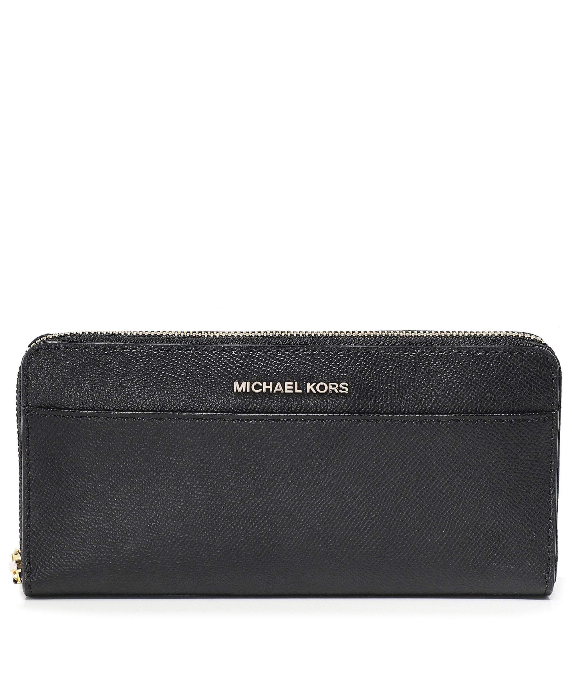Michael Kors Women's Jet Set Saffiano Leather Pocket Continental Wallet - Black