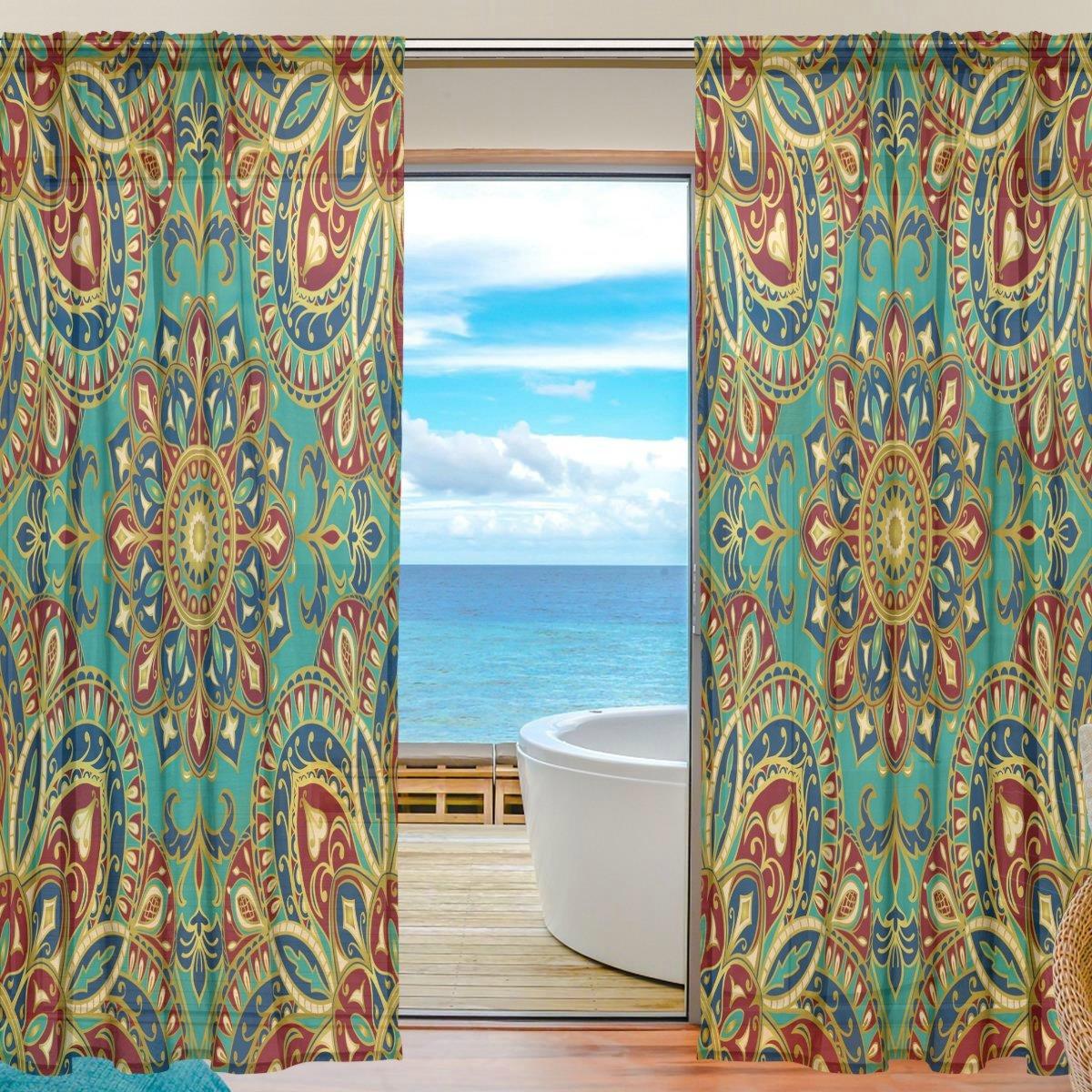 DOSHINE Vorhang, indisches Tribal, Blumen-Mandala-Vorhang, Fenstervorhang für Jungen Mädchen, Wohnzimmer, Badezimmer, Schlafzimmer, 139,7 x 198 cm, 2 Paneele, Polyester, Multi, 55