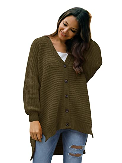 Womens Button Down Cardigan Sweaters Boyfriend Oversized Long Cable
