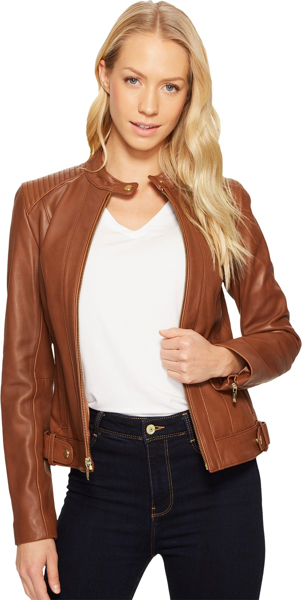 Cole Haan Women's Leather Racer Jacket with Quilted Panels Chestnut Jacket
