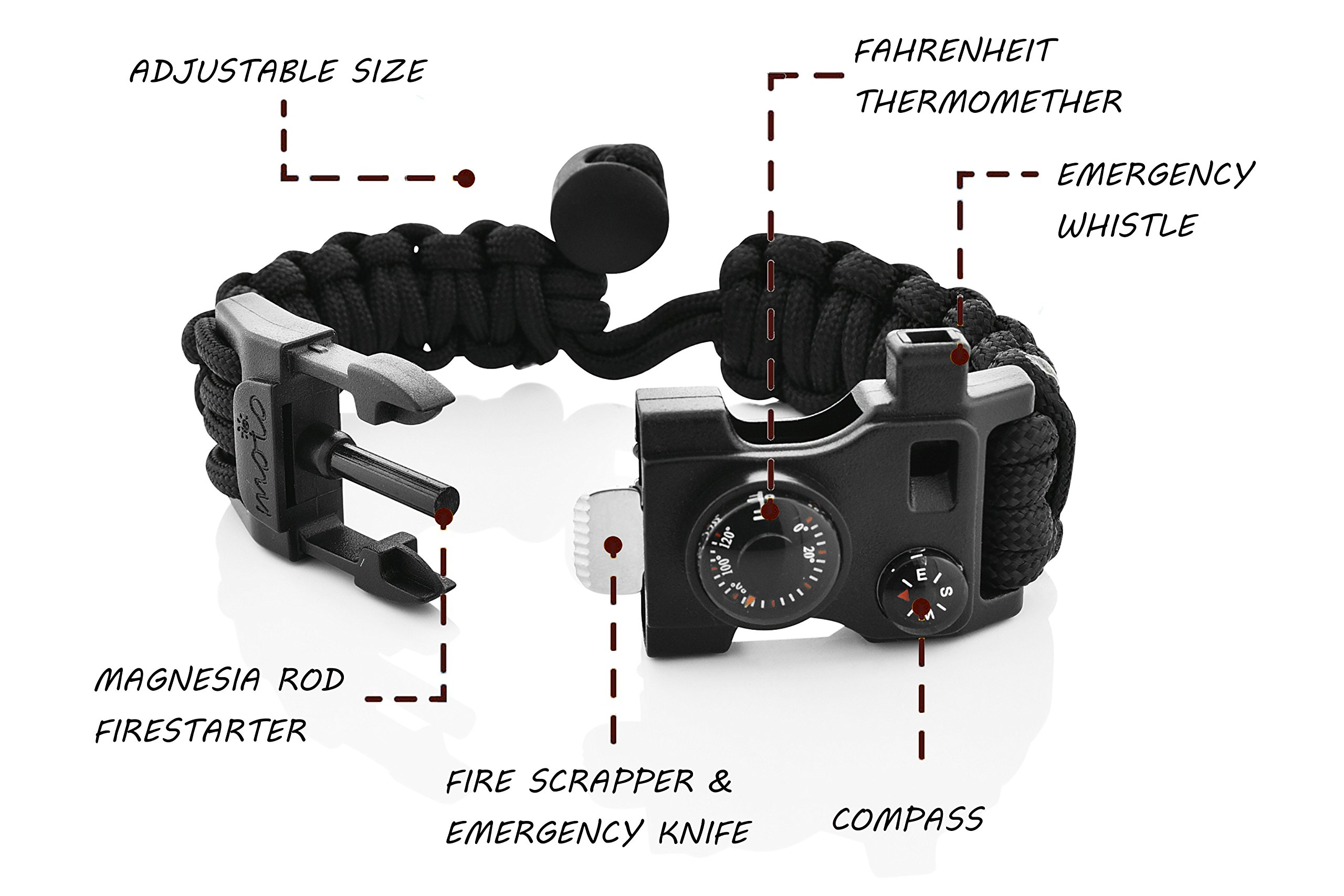Paracord Bracelet - Survival Bracelet - Emergency Gear Men Women Kid Girl - MINI MULTI TOOL CARD - Scrapper - Whistle - Compass - Flint Fire Starter - Fahrenheit Thermometer - Hiking Camping