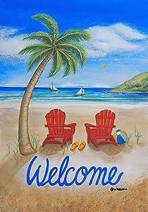 "Briarwood Lane Beach Summer Garden Flag Adirondack Chairs Palm Tree Tropical 12.5"" x 18"""