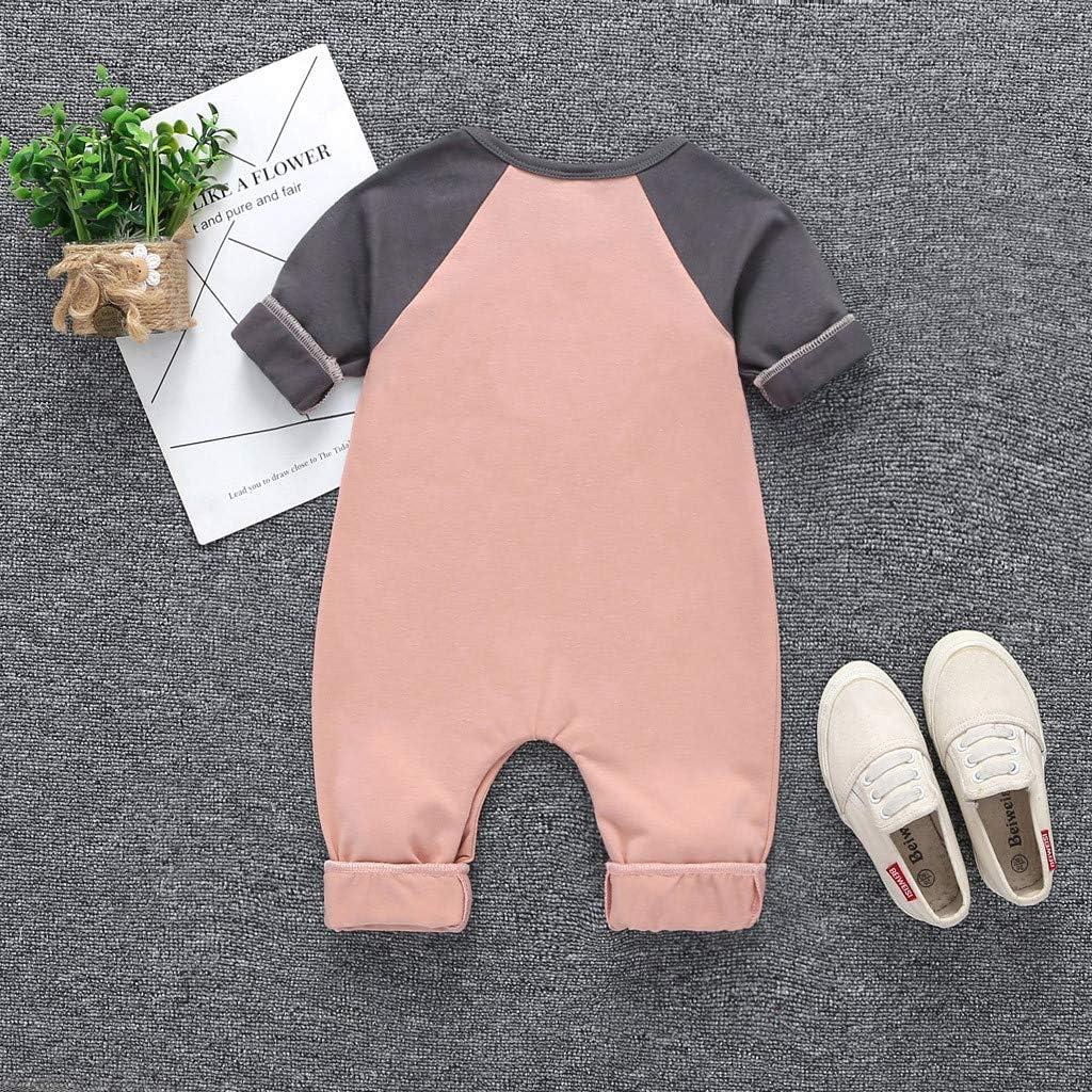 WOCACHI Baby Jumpsuit Unisex Elephant Bear Long Sleeve Stripe Romper Jumper