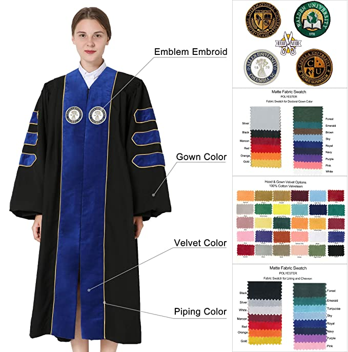 5fc3912f06 GraduationMall Deluxe Custom Doctoral Graduation Gown for Faculty and Professor  Phd at Amazon Men s Clothing store